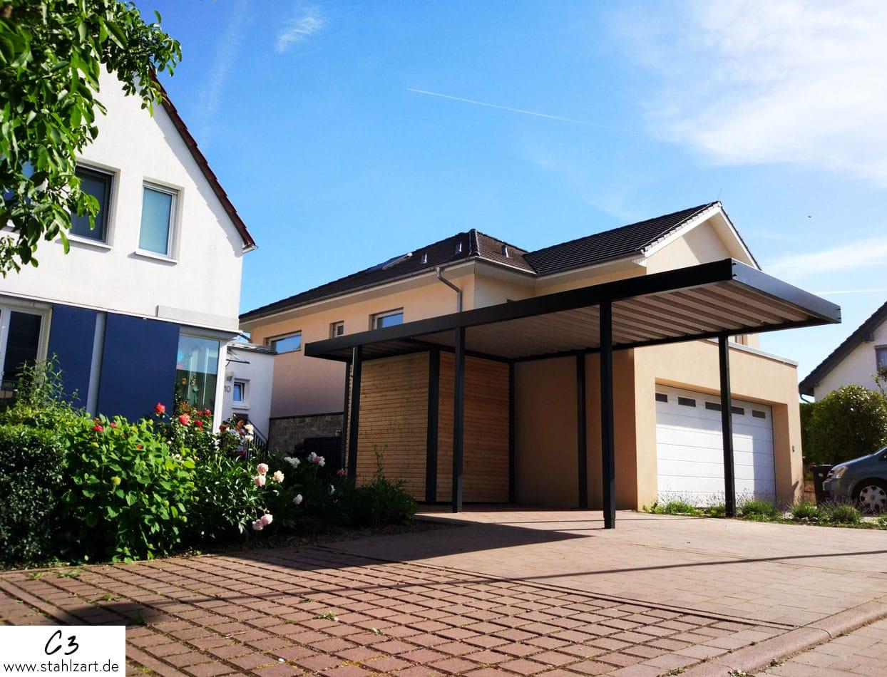 Carport Metall Stahl Holz Doppelcarport von Stahlzart. - Parktraum